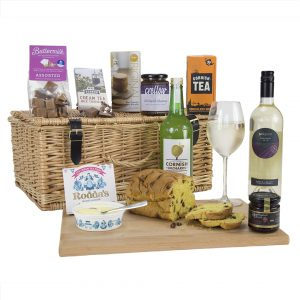 Traditional Cornish Hamper with White Wine